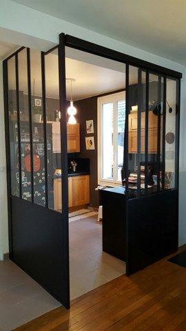 Defi m tallerie conception de v randas et de verri res d - Porte de cuisine coulissante ...